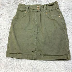 Cabi Green Denim Skirt